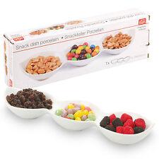 3 Sezione piatto snack servizio Dip Vassoio Immersione Ciotola porcellana bianca condimento BAR