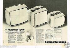 Publicité advertising 1976 (2 pages) Téléviseur portable Continental Edison