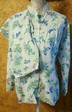 Philmaid Acetate Nylon Pajamas Lace Butterfly Flowers Print Vintage Size 40 2 Pc