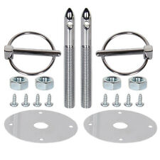 Universal Stainless Steel Mount Hood Pin Pins Plate Bonnet Lock Kit XY