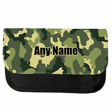 PERSONALISED CAMOUFLAGE PRINT SCHOOL GIRLS BOYS PENCIL CASE / MAKE UP BAG GIFT