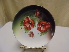 RARE!!! Antique 1890's Dresden China Poppy Flower Dessert , Bread Plate 6.5""
