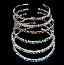 Wholesale Lots 6 Pcs 1 line mix color Rhinestone open Cuff Bracelet Bangle #003