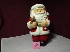 Santa with baby bear (carved wood looking)