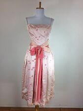 Vintage 1950s 40s Pink Prom Party Dress Floral Velvet Bow Dance Size Small