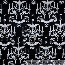 BonEful Fabric FQ Cotton Quilt Black White B&W VTG Skeleton Skull Bat Halloween