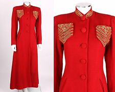 VTG c1939 CHAS A STEVENS RED WOOL PRINCESS EVENING COAT SCHIAPARELLI ATTRIBUTES