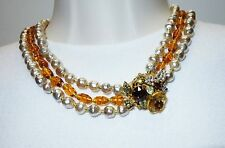VTG MIRIAM HASKELL 3 STRAND BAROQUE FAUX PEARL & AMBER GLASS NECKLACE
