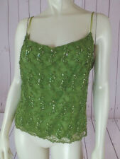 INC Camisole Top L Kiwi Green Sheer Nylon Net Lace Overlay Beads Sequins New