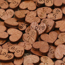 100pcs Wooden Mini Love Heart Wood Cutout Wedding Craft Embellishment Decoration