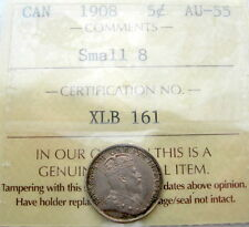 1908 SMALL 8 Five Cents Certified AU-UNC * SCARCE Date HIGH Grade Edward VII KEY