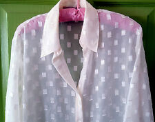 Sheer White Blouse w/ Subtle Gold Metallic Checkerboard Accents.  Size Large.