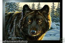BLACK FRAMED BLACK WOLF - 3D MOVING PICTURE 400mm x 300mm (NEW)