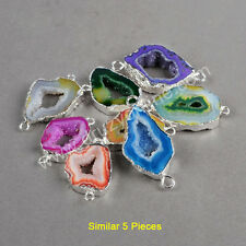 Free Shipping! 5Pcs Agate Druzy Geode Slice Connector Silver Plated TS0052