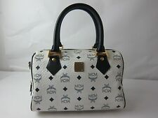 AUTHENTIC VINTAGE MCM MUNCHEN WHITE BOSTON  HANDBAG PURSE  MADE IN ITALY