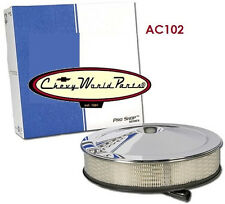 """CHEVY CAMARO CHEVELLE 14"""" CHROME AIR CLEANER ASSEMBLY TOP LID BASE GM LICENSED"""