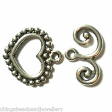 10 Sets Antique Silver Heart Toggle Clasp 22x14mm Findings