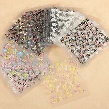 10 Sheets/set 3D Nail Art Sticker Manicure Decals Black White Flower Design DIY