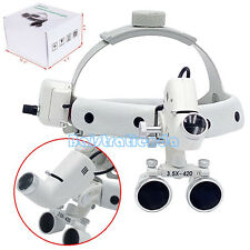 Dental Optical Surgical Medical Head Band 3.5X Binocular Loupe & LED Light 5W CE