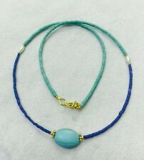 FREE Shipping Afghan Natural Lapis & Turquoise Tiny Seed Beads Necklace Handmade