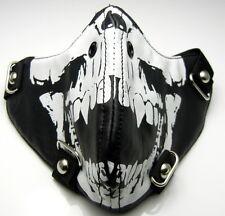 TEM104 White Vampire Skull Black Mask Punk Rock Cosplay Biker Halloween