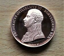 THE BATTLE OF WATERLOO SOLID BRONZE MEDAL- KING FREDERICK WILLIM 111 OF PRUSSIA