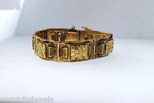 """Vintage Estate Antique Mayan Inca Aztec 18k Solid Yellow Gold 45.4g Bracelet 7""""L"""