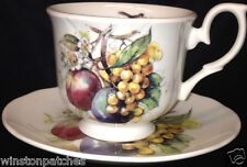 DUCHESS FINE BONE CHINA ENGLAND FOOTED CUP & SAUCER 9 OZ FRUIT ON WHITE