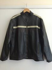 Point Zero Men's Black Leather Bomber Jacket Size Medium