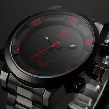 SHARK Mens Luxury Quartz LED Digital Black Stainless Steel Date Day Sport Watch