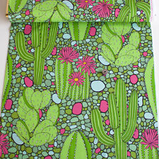 Alexander Henry Fabric Verde Green PER METRE Bright Green Cactus Cacti Pink Mexi