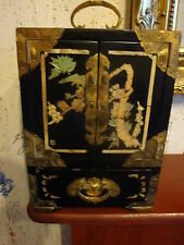 Vintage Chinese laquer inlaid jewellery box