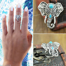 Boho Elephant Ring Antique Silver Gothic Ethnic Tribal Retro Turquoise Ring 1PC