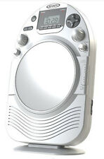 Jensen Shower Radio AM FM CD Fog-Resistant Mirror Clock White for Bathroom