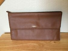 NWT Coach Avery Leather Zip Clutch Saddle w/ Brass - Mini Pad Case  # 51217