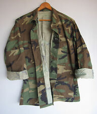 Mens Vintage Army Camo Jacket Shirt Woodland Camouflage Short Medium