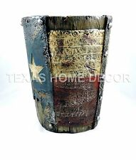 Western Waste Basket Rustic Texas Flag Star Bathroom Accessory Faux Wood Look