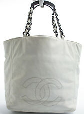 CHANEL Tasche Bag Shoulder Bag Shopper Schultertasche Leder Weiss white Rare