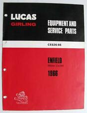 Lucas Royal-Enfield Motorcycle Equipment & Service Parts List 1966 #CE826/66