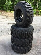4 NEW 12-16.5 Deestone Skid Steer Tires on Black Wheels/Rims -12X16.5-12 ply
