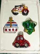 """4 Christmas Tree  Glass Motorcycle boat car airplaine Figural Ornaments 2"""""""