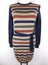 AQUASCUTUM  Strick Kleid - 36 - S - blau beige grün gestreift - neu - mit Wolle