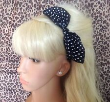 NAVY WHITE POLKA DOT FABRIC HAIR BAND HEAD WRAP REMOVABLE PRE TIED BOW 50s RETRO