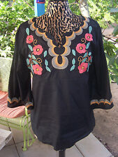 Cute~Mexican Style Embroidered Wide Sleeve Peasant Top Tunic~L~Ivy Jane~Festival