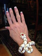 NEW Kenneth Jay Lane White Enamel PAVE CZ SNAKE Hinged Bracelet - WOW!!!!