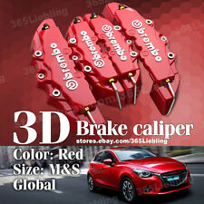 Red 3D Brake Caliper Cover Brembo Style 4P Universal Disc Racing Front Rear AU02