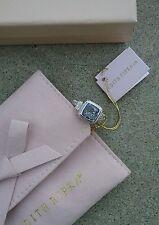 New Judith Ripka .925 Sterling Silver BLUE QUARTZ White Sapphire Ring 7.5 NIB