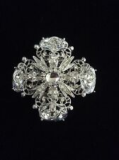 Big Bold Silvertone Rhinestone Filigree Flower Maltese Cross Brooch