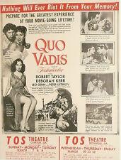 1950s CLAXTON, REIDSVILLE, GA THEATRE  FLYER -  Robert Taylor Epic - QUO VADIS