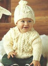 "Baby Knitting Pattern Aran Sweater and Hat  18-22"" 230"